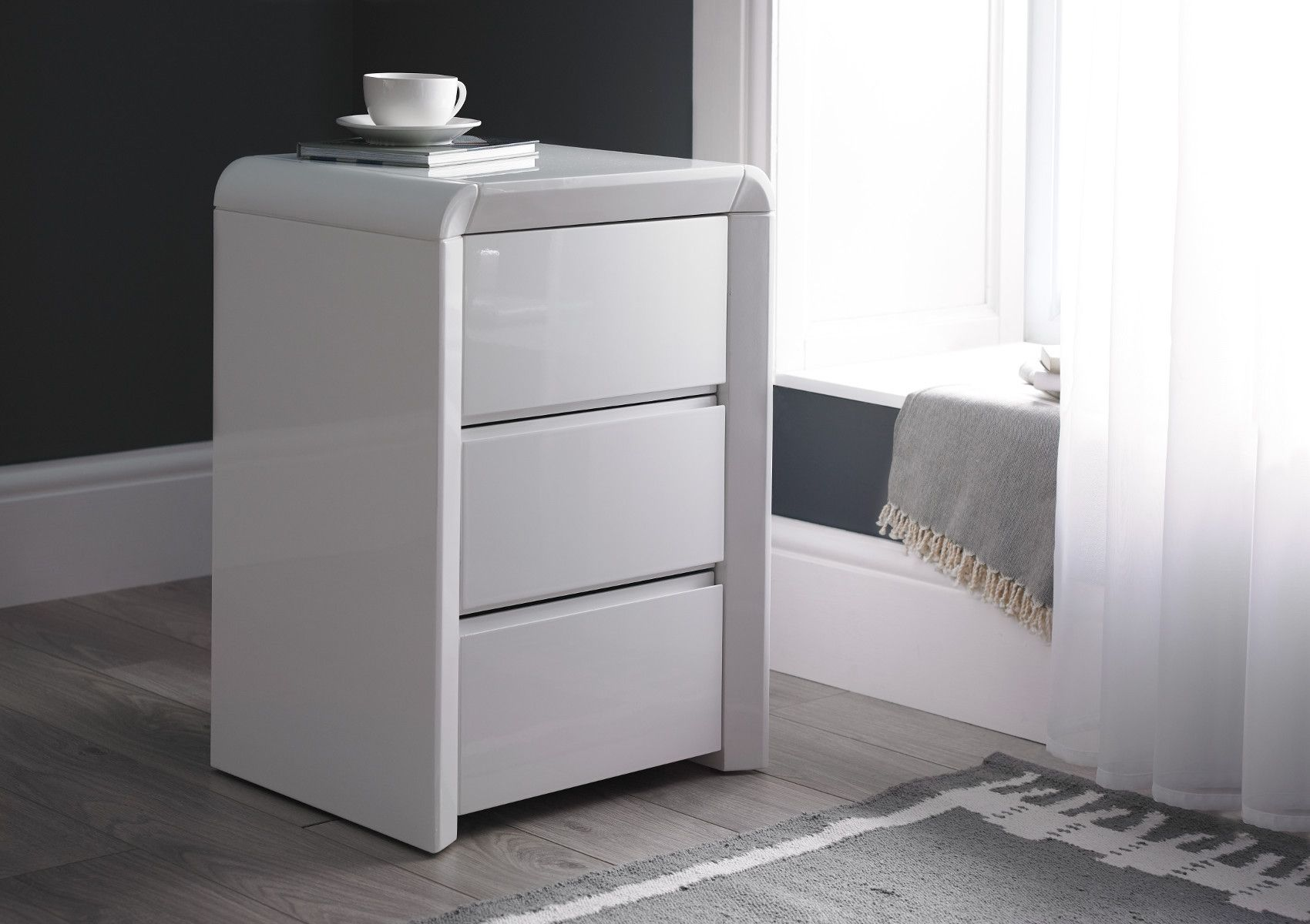 Ice High Gloss 3 Drawer Bedside White Bedside White White Bedside Table White Bedside Cabinets