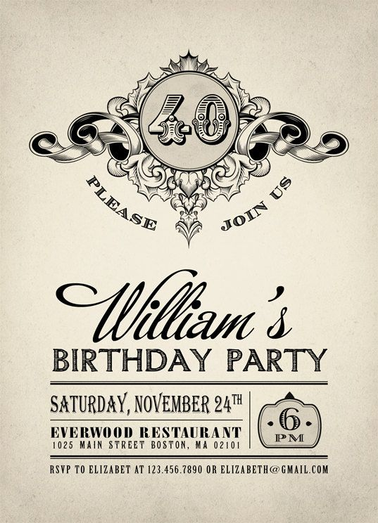 Printable Vintage Birthday Party Invitation Adult By Plpapers