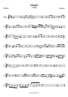 Diegosax Adagio De Albinoni Partitura De Saxofón Del Adagio De Albinoni Adagio Para Flauta Y Para Trompeta Partituras Partituras Trompeta Flauta