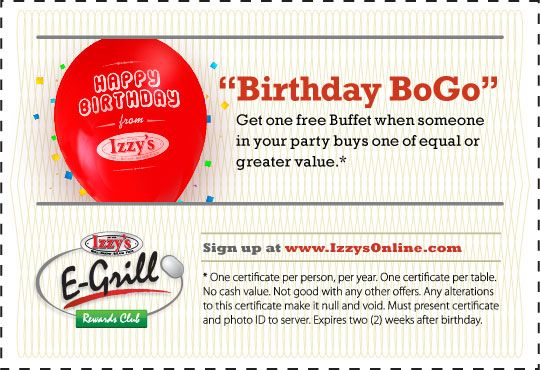 Izzy S Birthday Coupon Buy One Get One Expires 2 Weeks After