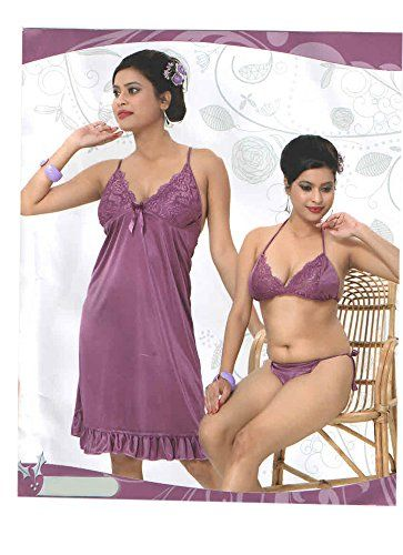 Indiatrendzs Women s Sexy Hot Nighty 3pc Set Purple Sleepwear Freesize  Indiatrendzs http   www 475bcbecd