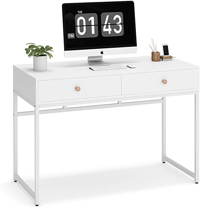 Amazon Com Tribesigns Computer Desk Modern Simple 47 Inch Home Office Desk Study Table Writing Des In 2020 Study Table Home Office Computer Desk Modern Computer Desk