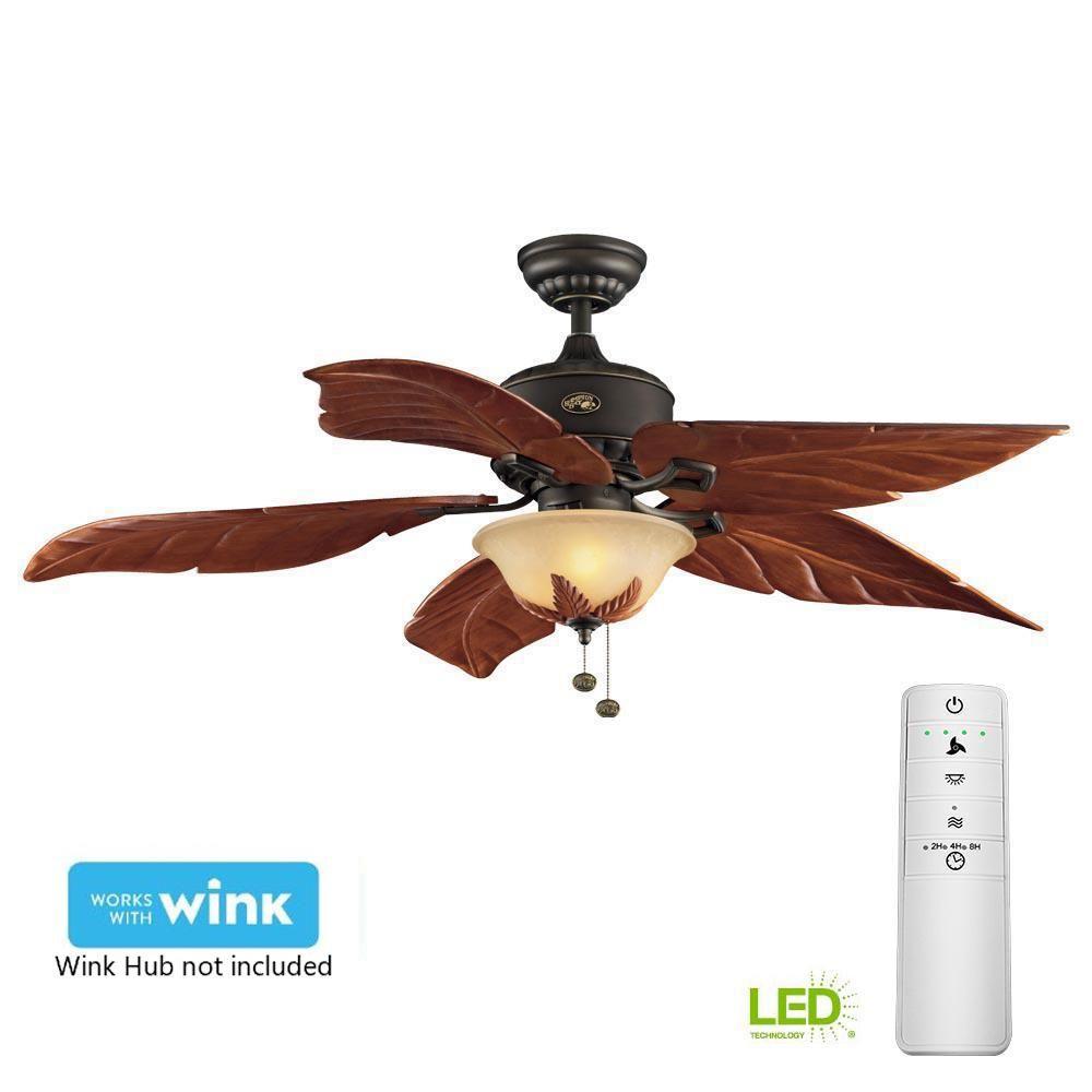 Hampton Bay Antigua Plus 56 In Led Oil Rubbed Bronze Smart Ceiling Fan With Light Kit And Wink Remote Control Ceiling Fan The Hamptons Bronze Ceiling Fan