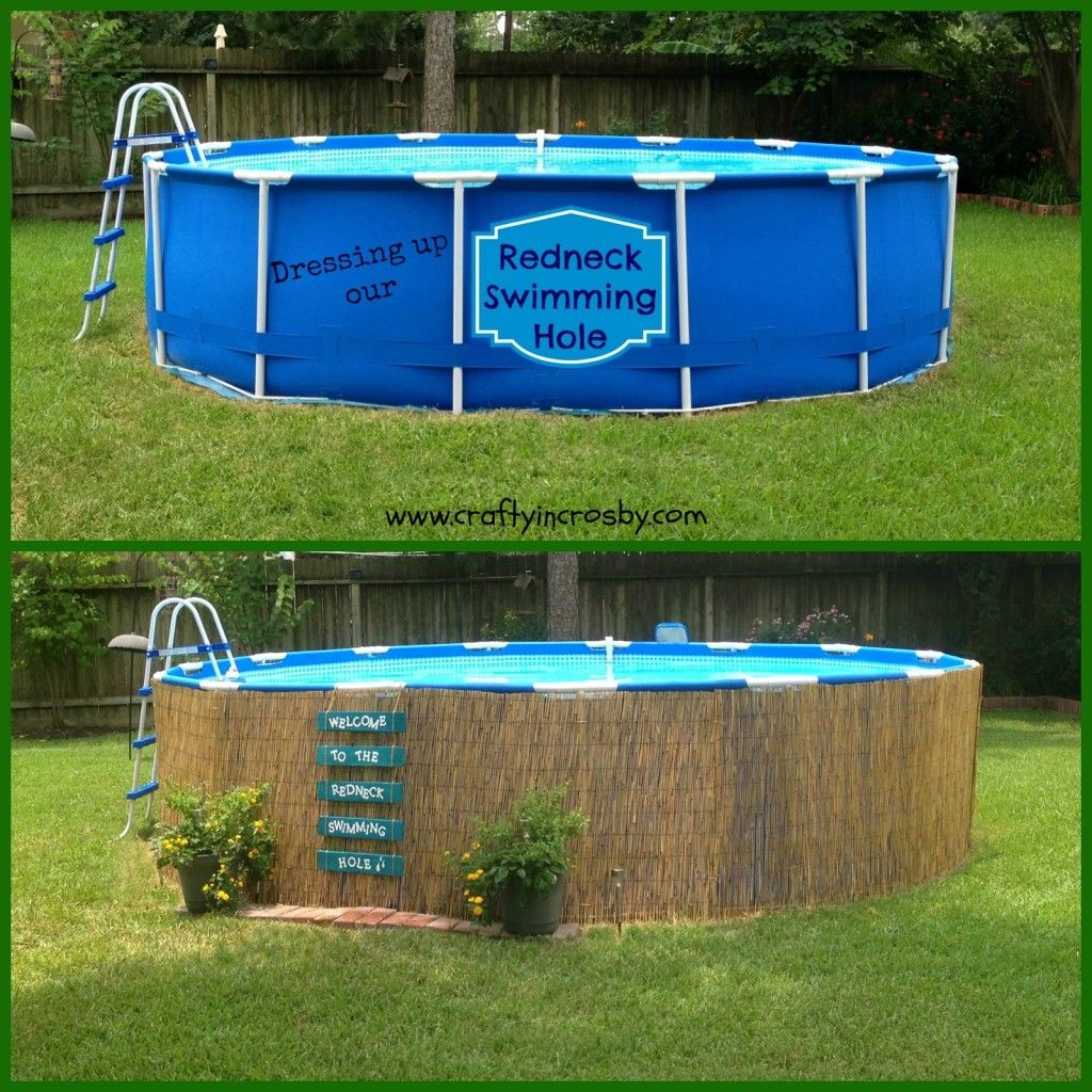 Landscaping ideas for backyard with above ground pool - Find This Pin And More On Backyard Makeover Ideas Easy Pallet Sign And Above Ground Pool Camouflage