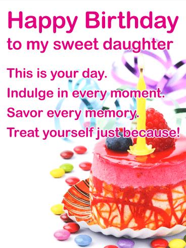 To My Sweet Daughter Happy Birthday Wish Card Birthday Wishes For Daughter Happy Birthday Daughter Happy Birthday Wishes Cards