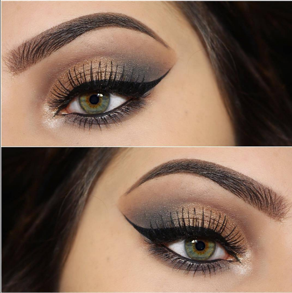 c18f2cde954 Slated gray and bronzed gold on @makeupbyymelanie wearing our #Ardell  Natural 105 lashes!