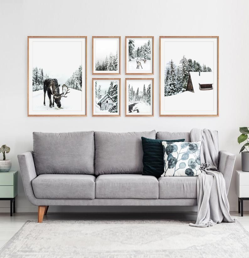 Winter Gallery Wall Decor. Nordic Christmas Wall Art Set of 6 Prints with Moose in the Forest, Cabins and Reindeer Snowy Scene Digital Photo