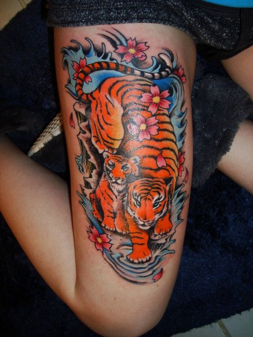 Nice Japanese Tiger Tattoo On Thigh Tiger Tattoos Tiger Tattoo Flower Thigh Tattoos Tiger Tattoo Thigh