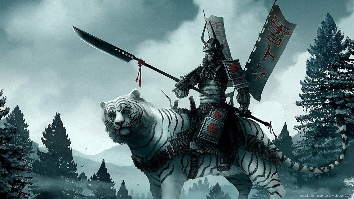 Samurai on a white tiger wallpaper Samurai, Artes marciais