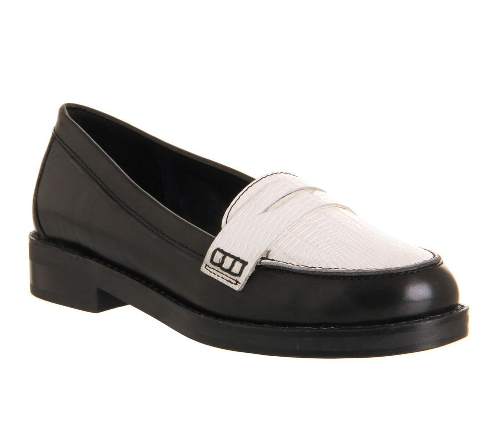 Womens OFFICE Victorious Penny Black White Lizard Leather Flats - UK Size 8