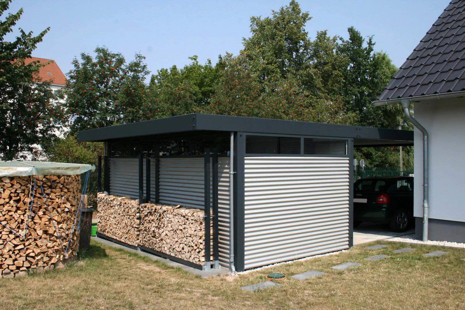 Design Metall Carport aus Stahl Blech mit Abstellraum