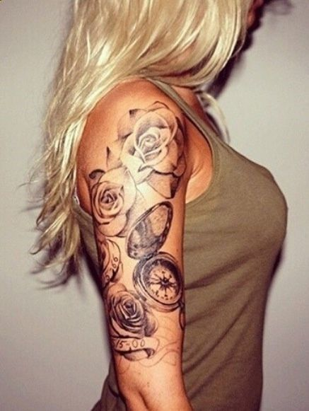 Half Sleeve Rose N Compass Tattoo Design For Girls