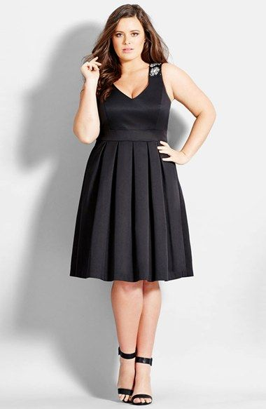City Chic \'Bling Shoulder\' Fit & Flare Dress (Plus Size) available ...