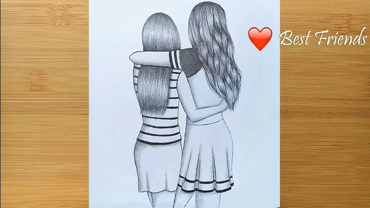 Best Friends Pencil Sketch Tutorial How To Draw Two Friends Hugging Each Other Youtube Pencil Sketch