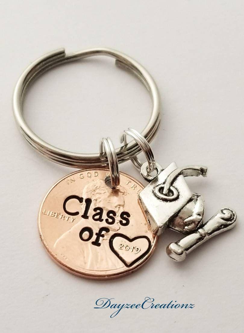 Custom graduation penny keychain class of 2019 gift for