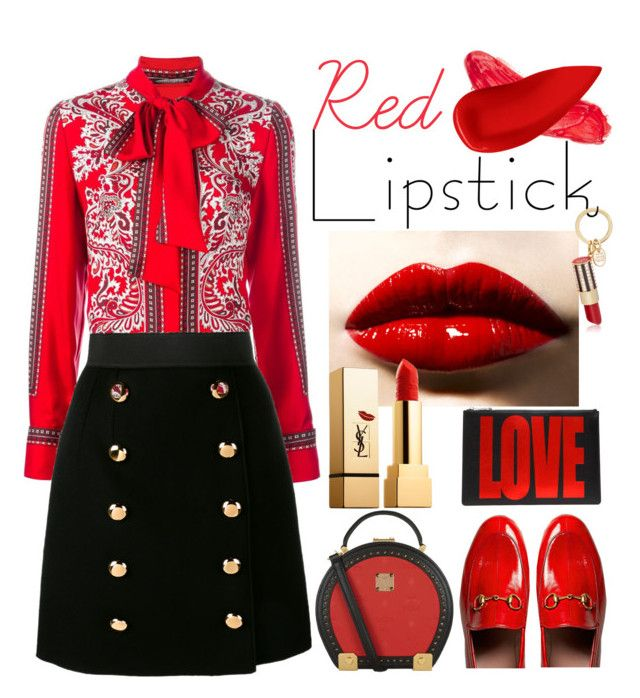 """""""Red Lip"""" by sweet-designs ❤ liked on Polyvore featuring beauty, Gucci, Alexander McQueen, Dolce&Gabbana, Henri Bendel, MCM, Givenchy, Yves Saint Laurent, Lime Crime and Lipstick Queen"""