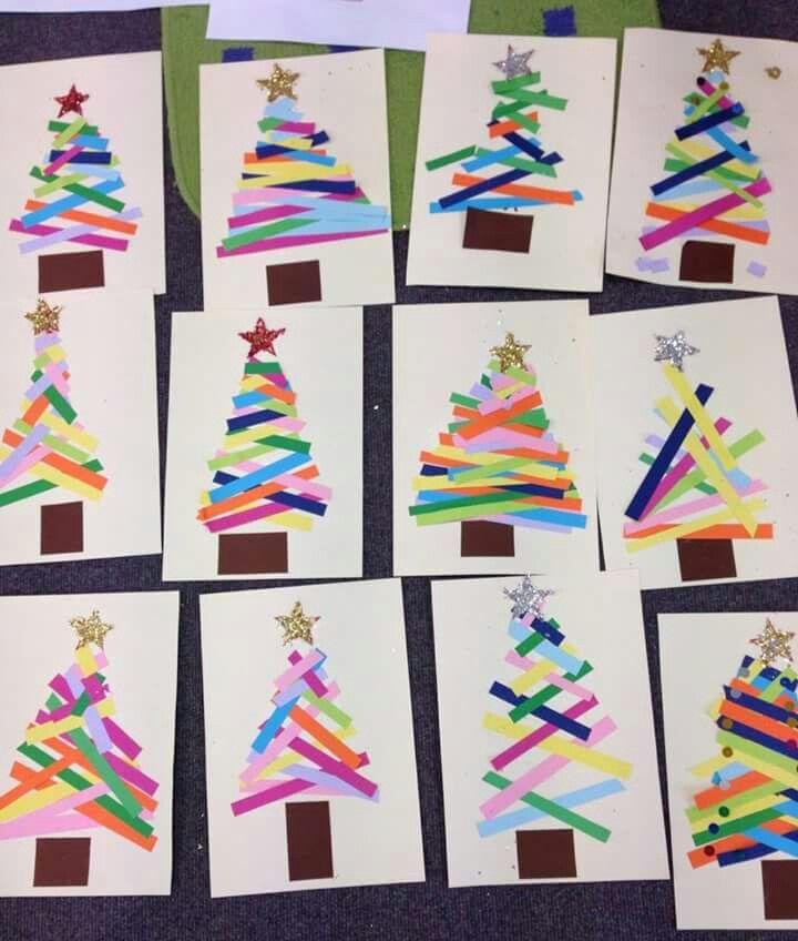 Paper Strip Trees Christmas Paper Crafts Christmas Crafts Christmas Kindergarten