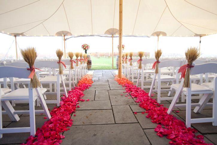 ombre wedding trends pink orange rose petal aisle | Ceremony ...