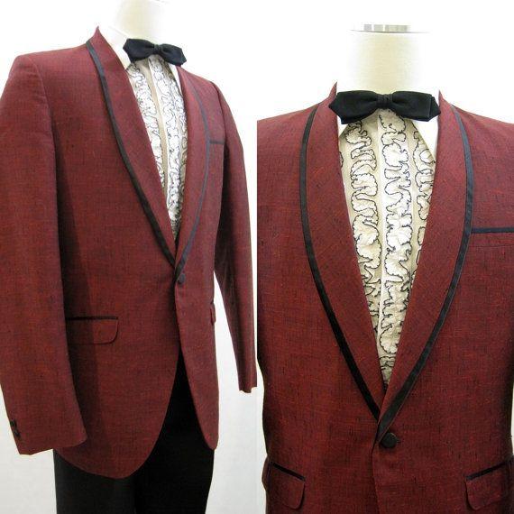 Dinner Jacket Men\'s Vintage 80s Tux Tuxedo Formal Red Flecked 39 ...