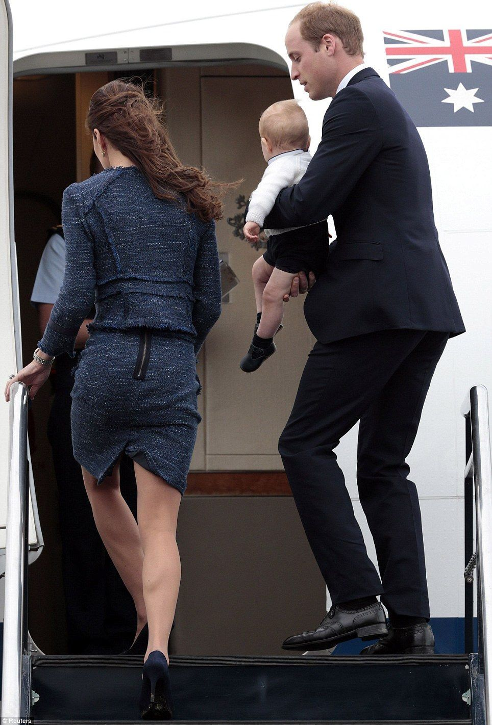 On Wednesday afternoon (April 16, 2014), the Duke and Duchess of Cambridge, along with Prince George, departed Wellington, New Zealand on a Royal Australian Air Force plane for bound for Sydney, Australia. The family spent 9 days touring New Zealand and will now spend 10 days visiting Australia.  April 16, 2014.