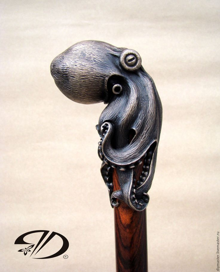 SOLID OCTOPUS HEAD HANDLE BLACK WOODEN CANE WALKING STICK HANDMADE ANTIQUE STYLE