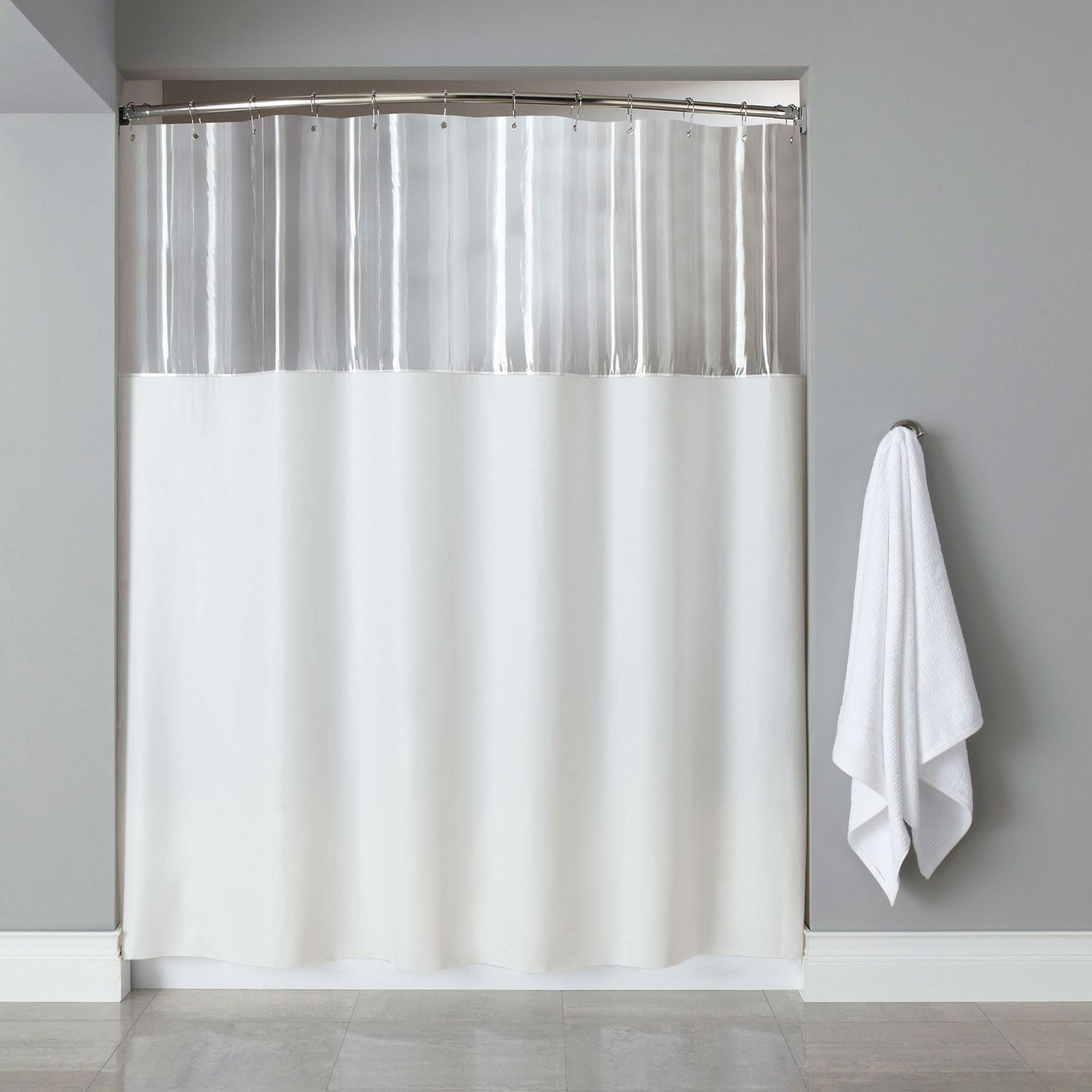 Extra Long Mildew Resistant Clear White Shower Curtain 84 X72