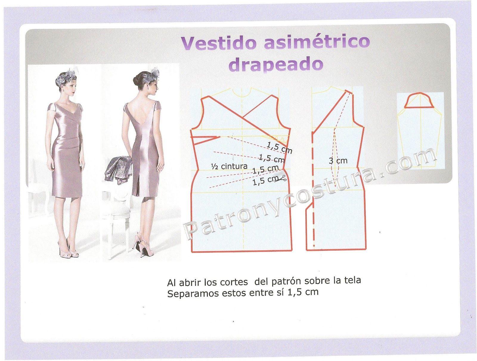Patrón y costura : diy vestido asimétrico drapeado.Tema 114 | Dress ...