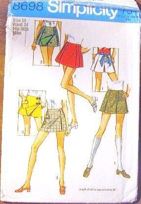 Women's Mini Scooter Skirt, Culottes, Cheerleader Sport Skirt - Vintage 1970s Simplicity Sewing Pattern 8698 - Waist 24. $4.00, via Etsy.