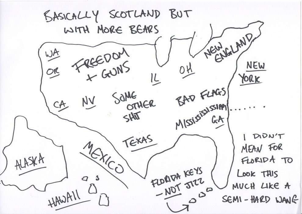 For Independence Day We Asked Brits To Draw A Map Of The US From - Draw on us map