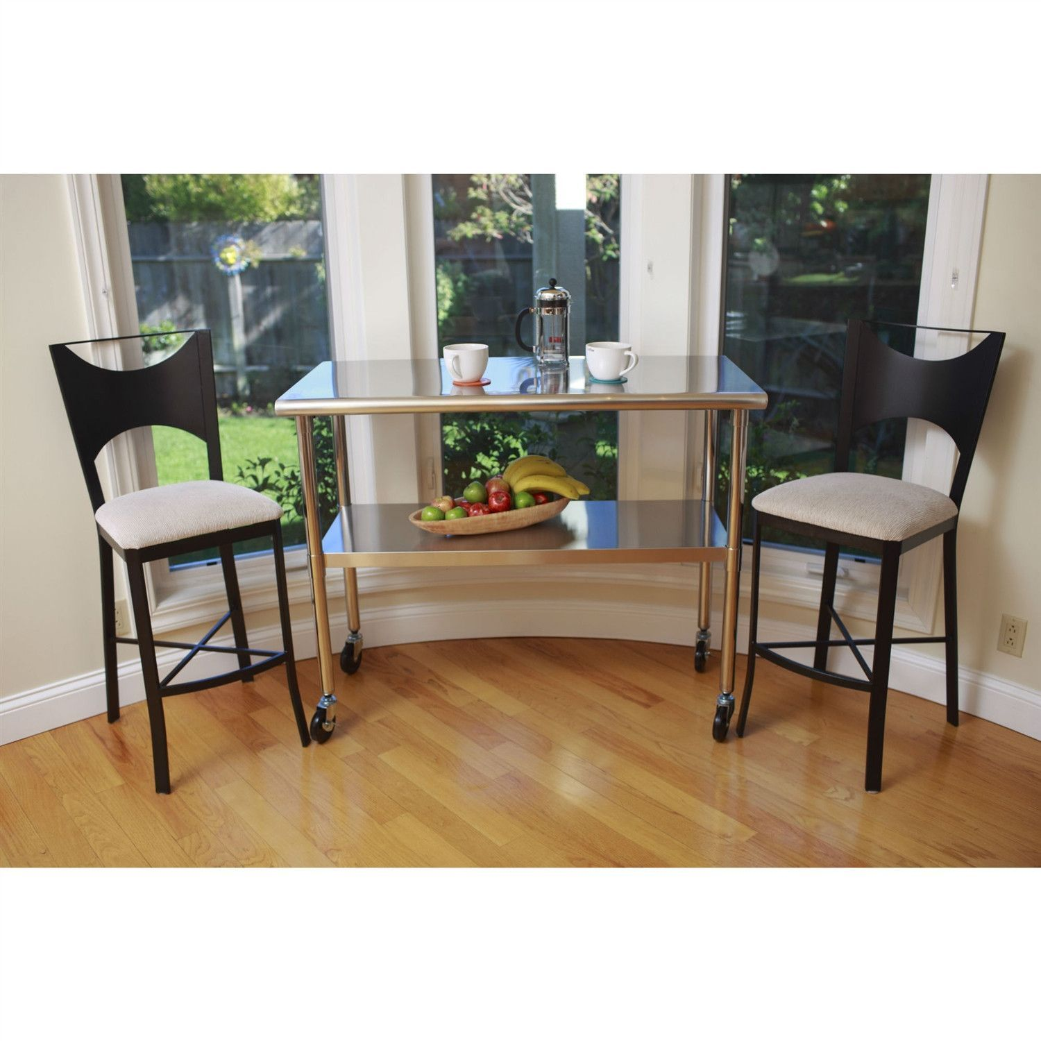 Ft x ft stainless steel top kitchen prep table with locking