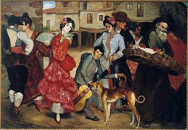 """Painting with Galgo  from 1904 """"La calle de las pasiones """" by  Spanish painter Ignacio Zuloaga y Zabaleta (July 26, 1870 – October 31, 1945)"""