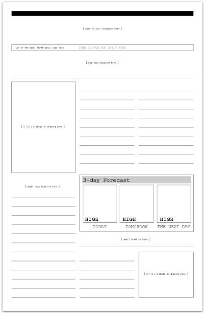 printable newspaper template for students