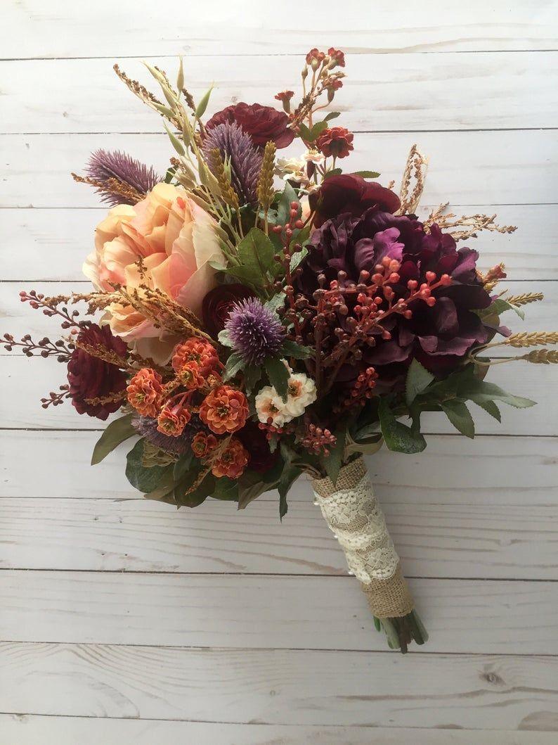 Fall Wedding Bouquet, Silk Wedding Bouquet, Rustic Bridal