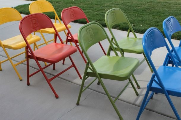 Delicieux Re Vamp These Standard Folding Chairs By Powder Coating Bright Colors On  These Metal Folding Chairs. Great For Outdoor And Indoor Use.