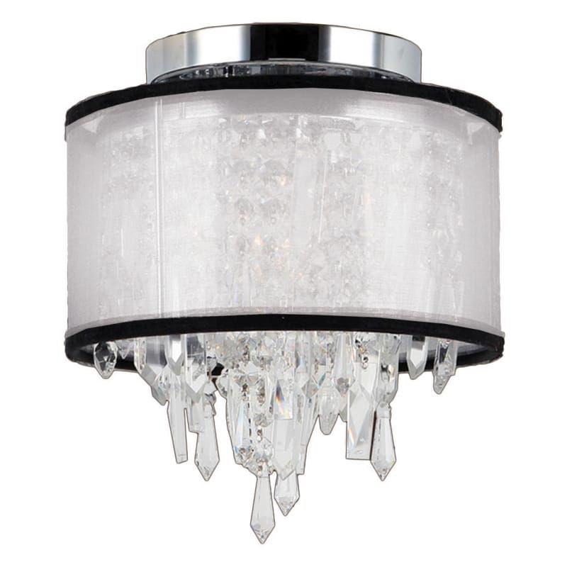 "Worldwide Lighting W331258 Tempest Single Light 8"" Wide Flush Mount Ceiling Fixt Polished Chrome / White Shade Indoor Lighting Ceiling Fixtures Flush"