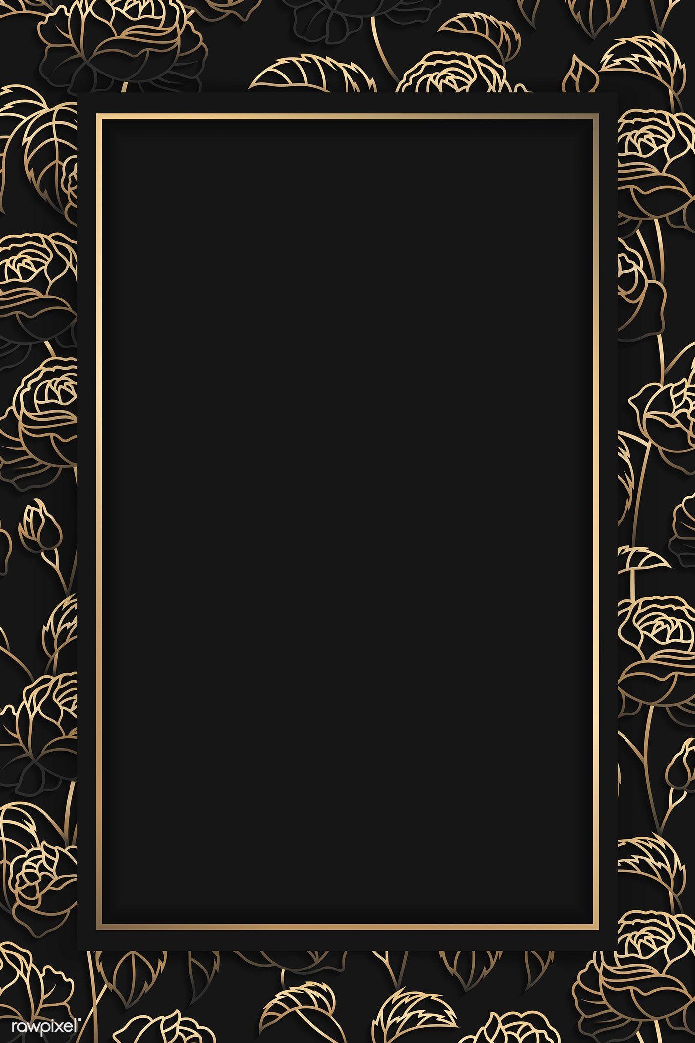 Download Premium Vector Of Rectangle Gold Frame On Gold Floral Pattern On Gold Frame Black Background Wallpaper Photoshop Backgrounds Backdrops