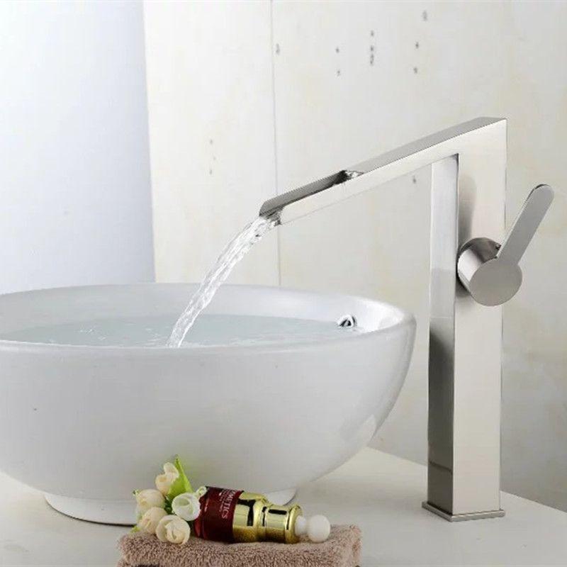 bathroom tall waterfall faucet basin tall crane Waterfall basin tap ...