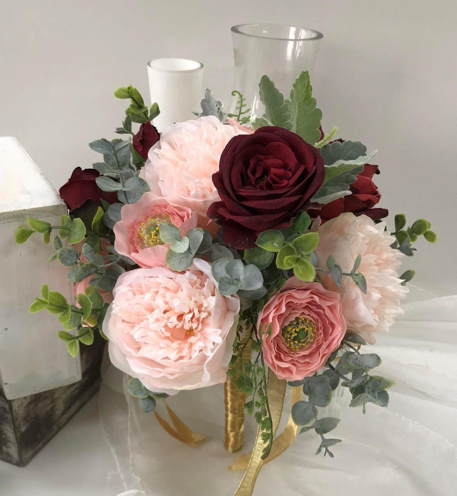 Silk Wedding Bouquet Vintage Dusty Pink Peony Roses Burgundy Green Flowers Fake Ebay Vintage Bouquet Wedding Silk Wedding Bouquets Fake Flower Centerpieces