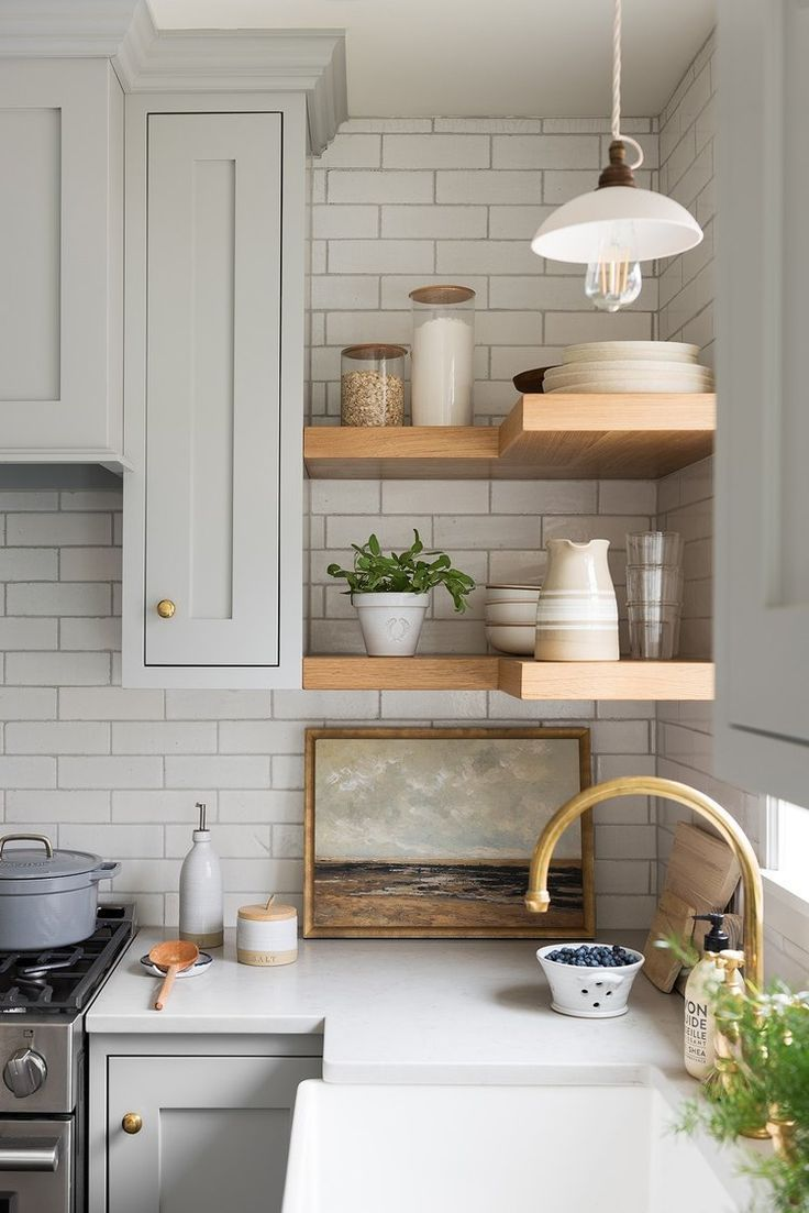 Photo of Handmade by farmhouse. Created by Studio McGee – Kitchen / Gray, Gold, We …