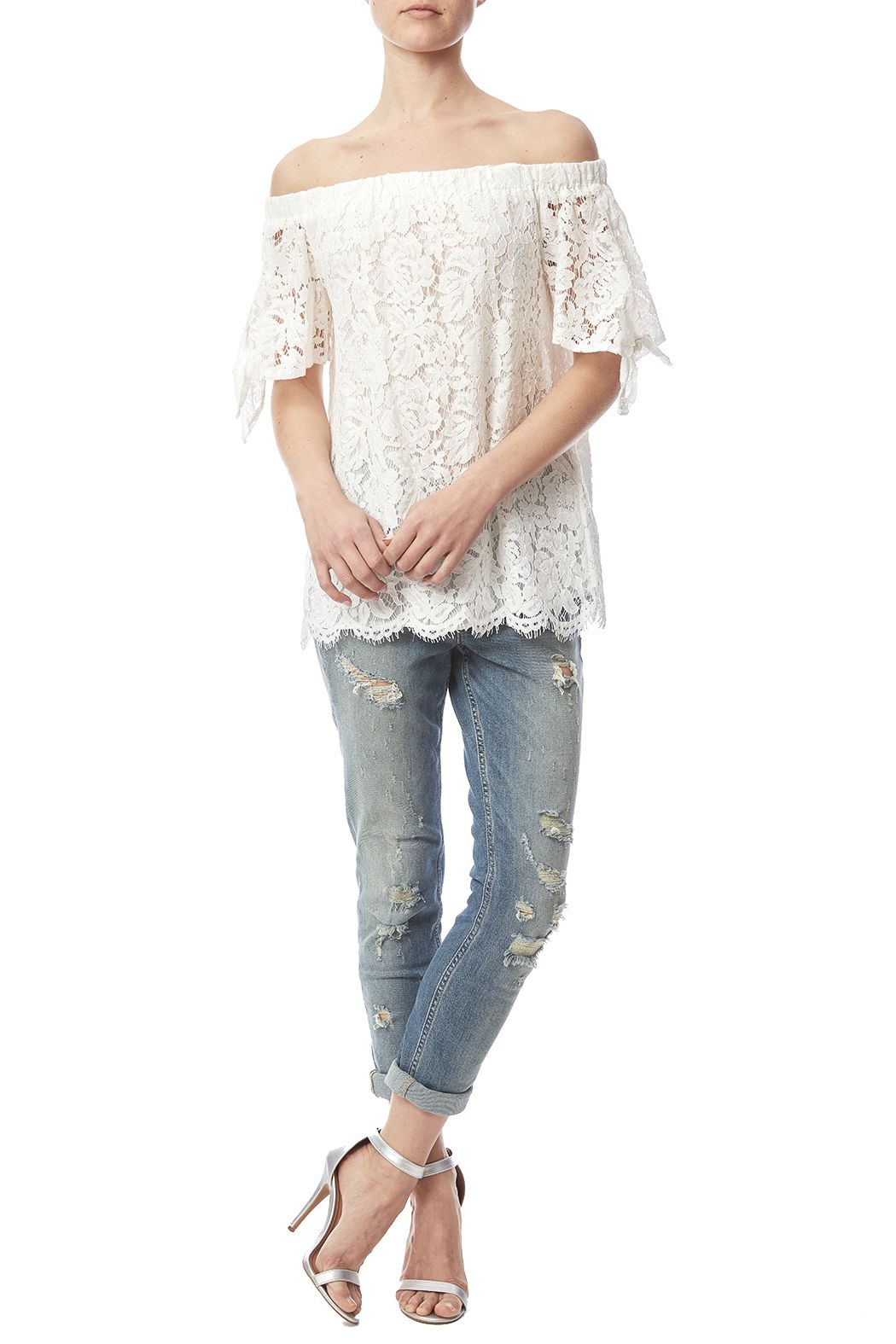 Tie Sleeve Lace Top - main