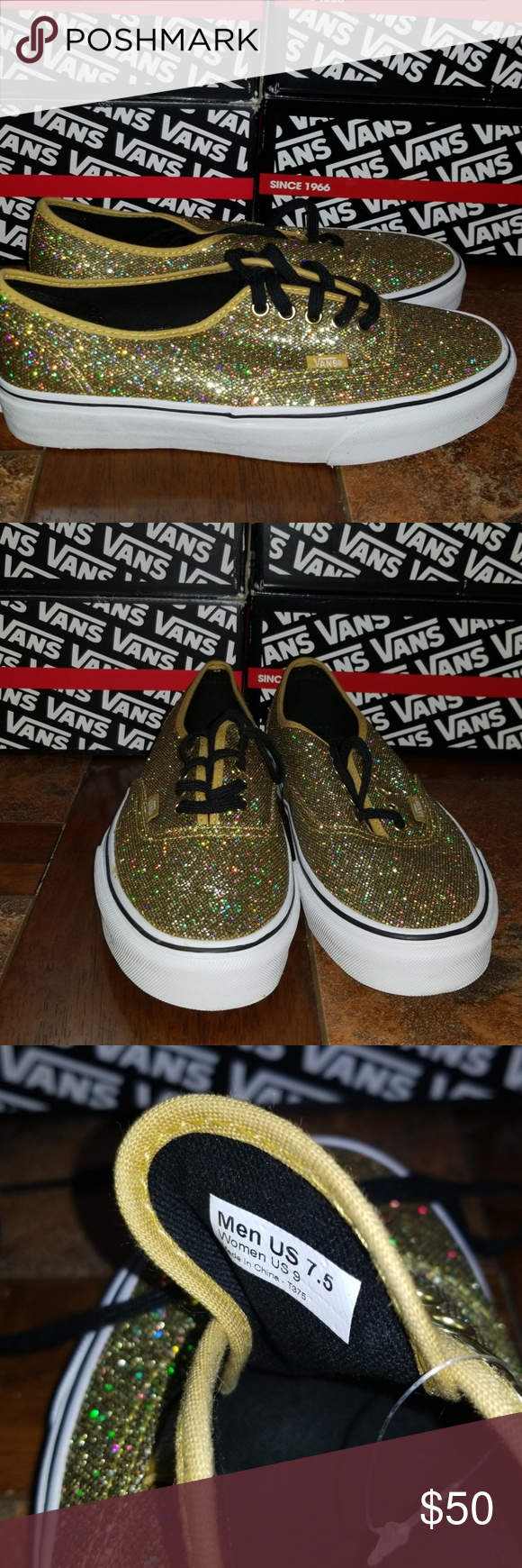 9406f88a4f Vans Mens 7.5  Womens 9 Van s Authentic Glitter Gold Mens 7.5   Womens 9  New Never worn before Will accept reasonable offers. Vans Shoes Sneakers