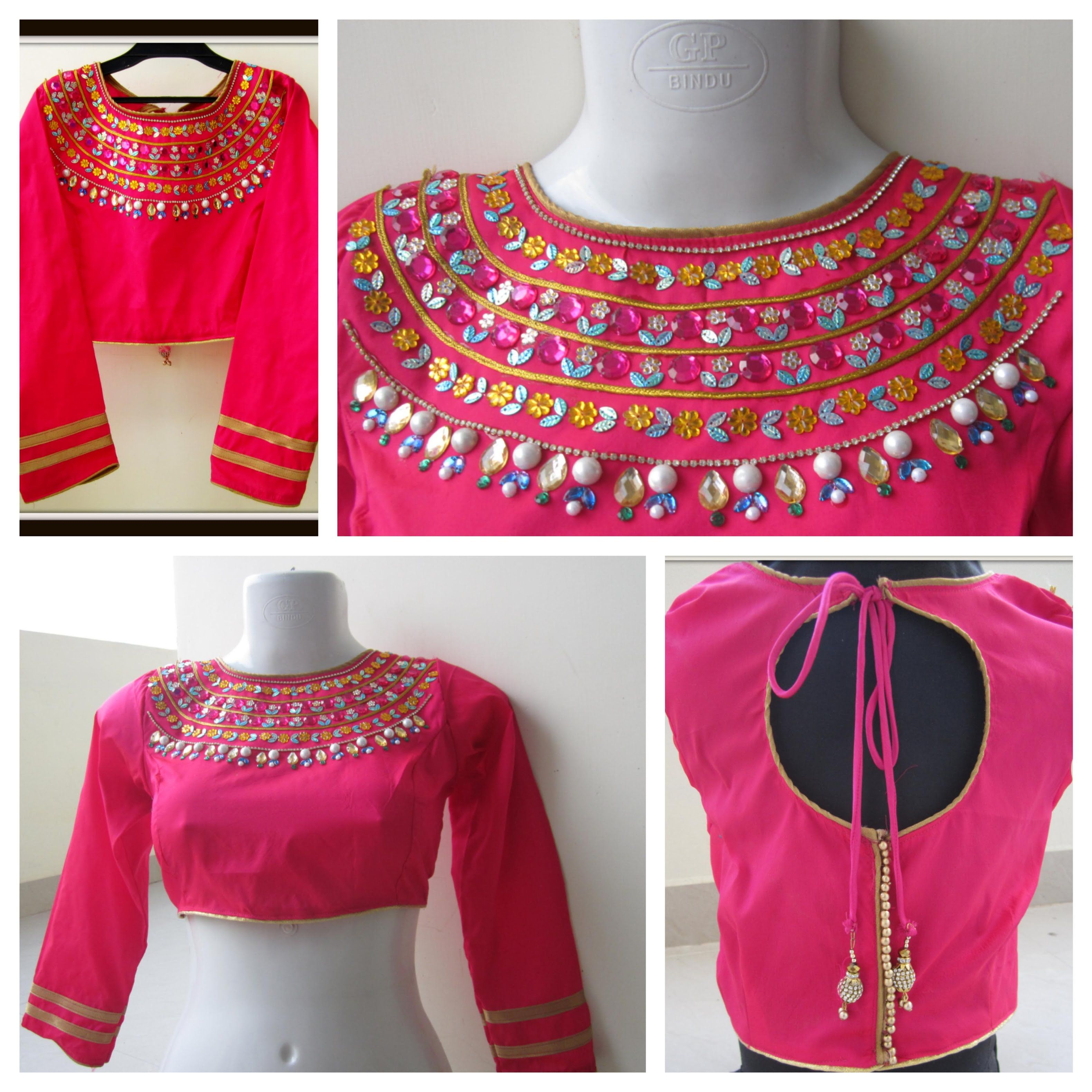 Saree blouse design cutting and stitching maharani blouse  high neck  easy cutting sewing and designing