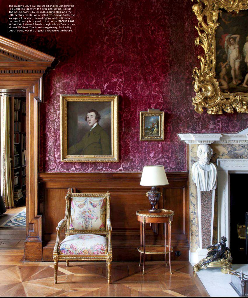Burgundy Wine Wallpaper In A Traditional Living Room Historic Home England