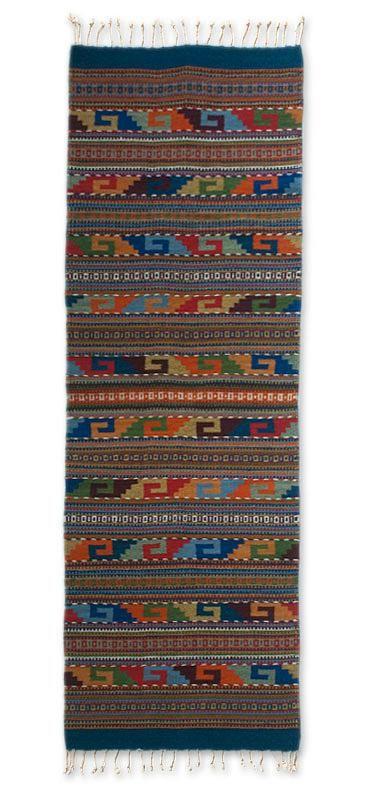 Zapotec Wool Rug 2 X 6 Multicolor Runner Mexico Feast In Monte Alban Novica