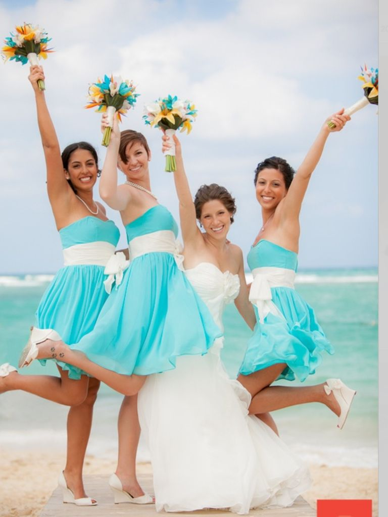 Tiffany blue bridesmaid dresses @Nicky McDonald these are pretty