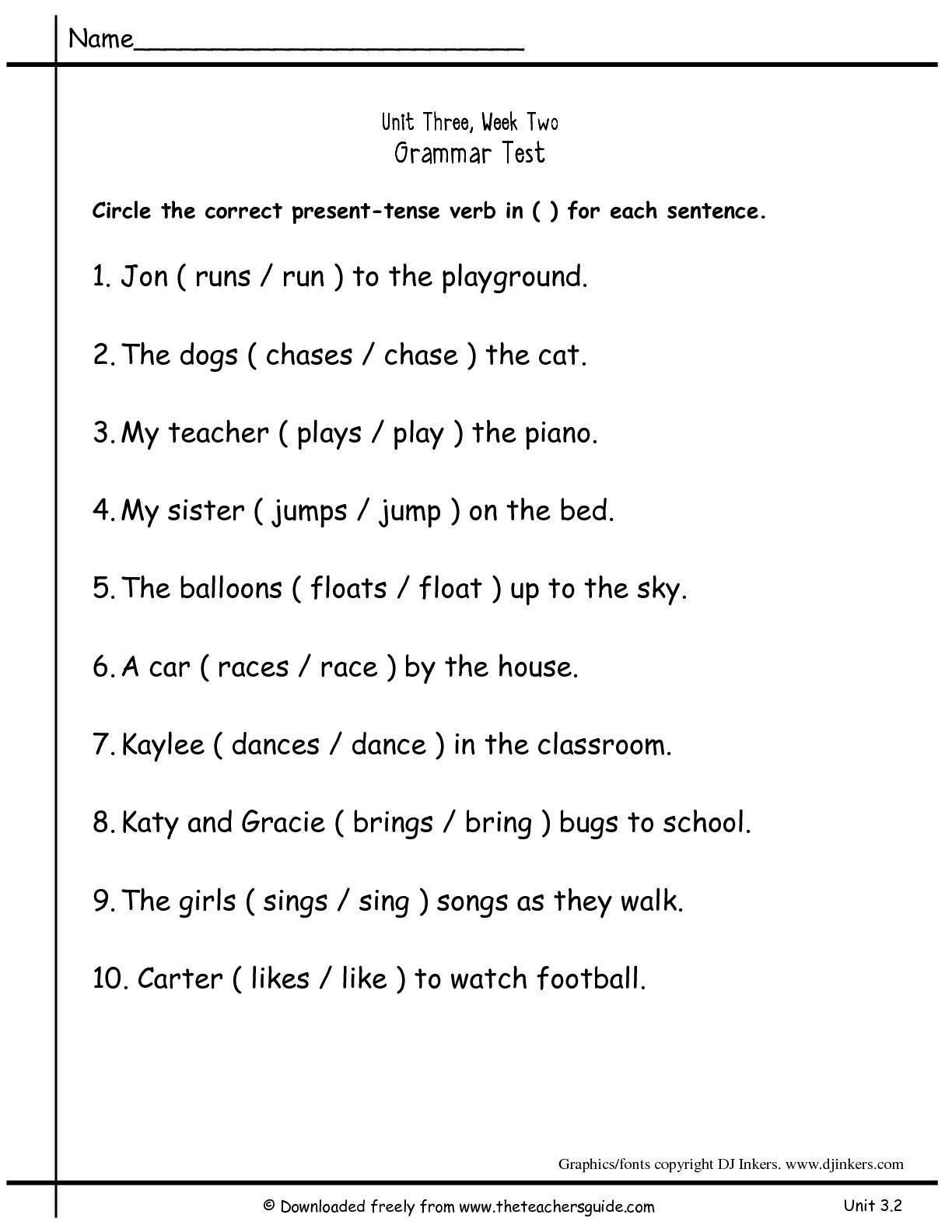 Worksheet On Verbs Grade 2