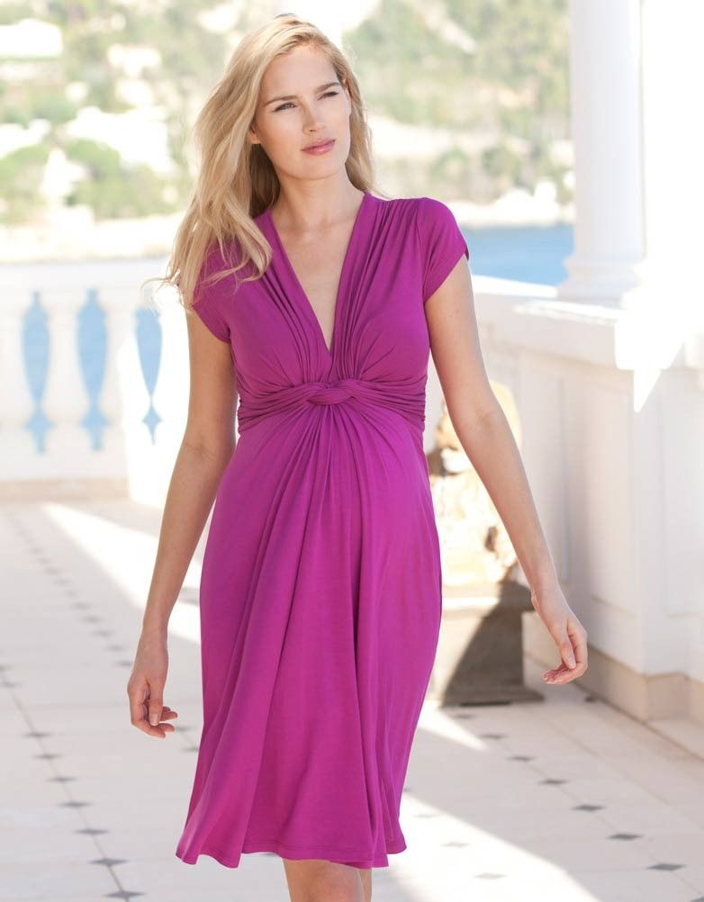 48bc26847 Pink Baby Shower Dress - Pink Fuchsia Knot Front Maternity Dress