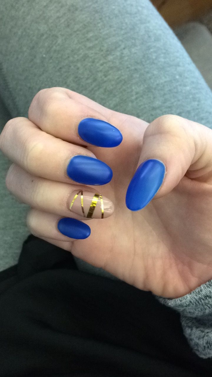 Matte Blue With Glossy Nude And Gold Tape Acrylic Gel Nails