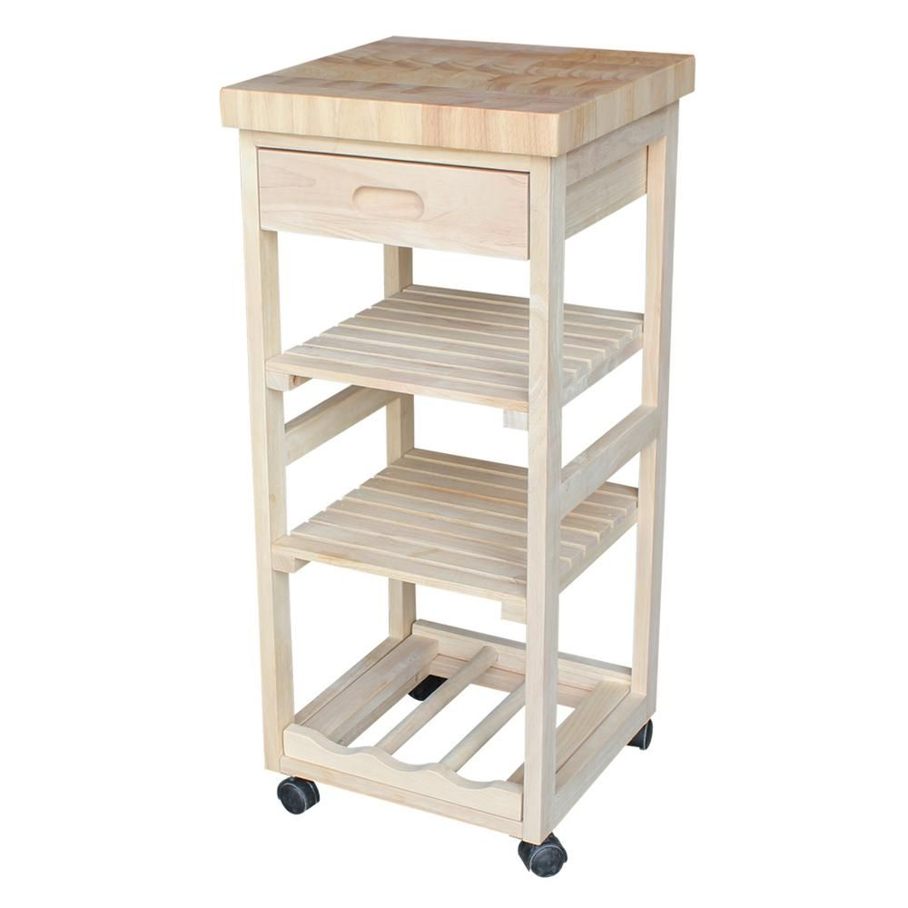 International Concepts Unfinished Kitchen Cart With Drawer ...
