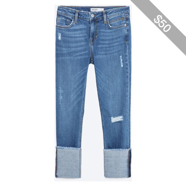 Zara Straight Cut Mid Rise Cropped Jeans